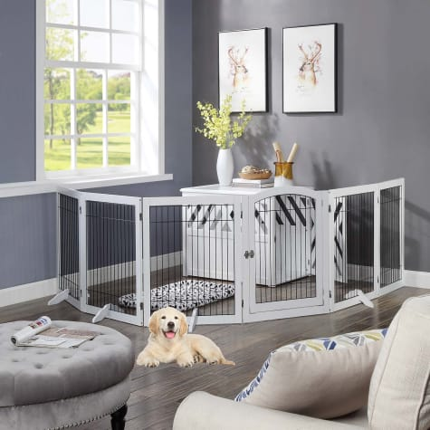 UniPaws 6 Panels Pet White Gate with Wood Frame and Wire bars