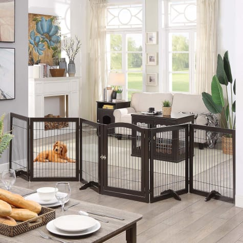 UniPaws 6 Panels Pet Espresso Gate with Wood Frame and Wire bars