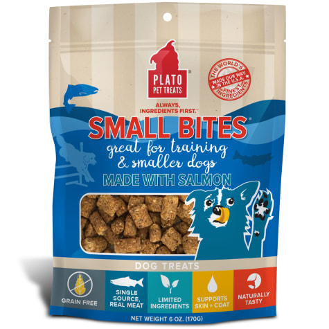 Plato Pet Grain Free Small Bites Made with Salmon Dog Treats