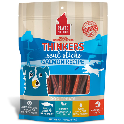 Plato Pet Thinkers Salmon Sticks Dog Treats
