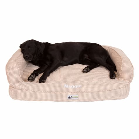3 Dog Personalized EZ Wash Premium Memory Foam Bolster Houndsth Dog Bed