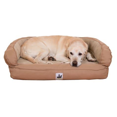 3 Dog Personalized EZ Wash Memory Foam Fleece Bolster Tan Dog Bed