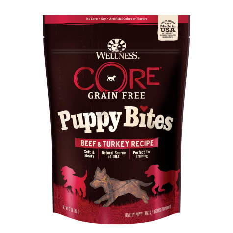 Wellness Core Grain Free Puppy Bites Beef & Turkey Recipe Soft & Chewy Treats