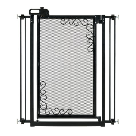 Richell Tall One-Touch Metal Mesh Black Pet Gate