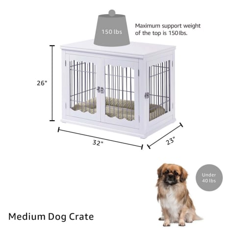 Unipaws Pet Crate with Pet Bed, Wooden Wire Dog Kennel in White