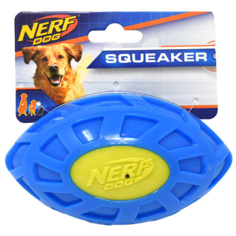 Nerf Blue/Green TPR EXO Squeak Football Dog Toy