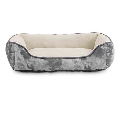 Animaze Gray Printed Rectangle Bolster Dog Bed