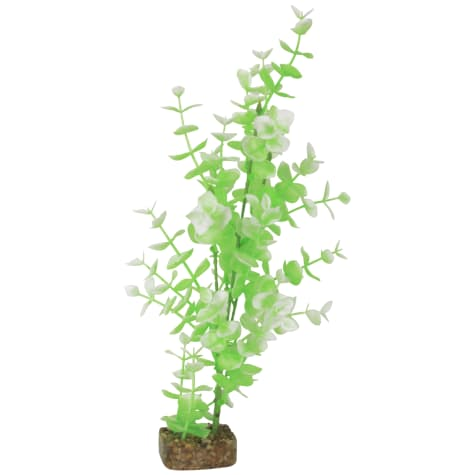 GloFish Green And White Plant Fluorescent Under Blue LED Light Aquarium Decor