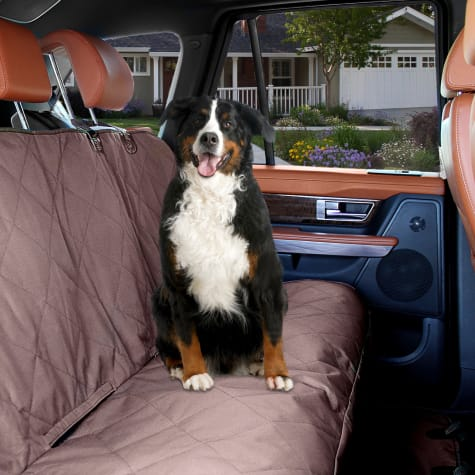 Kopeks Waterproof Non Slip Padded Quilted Protector with Seat Anchors and Head Straps Dog Car Brown Seat Cover