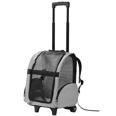 Kopeks Gray Deluxe Backpack Pet Travel Carrier with Wheels