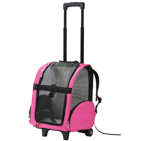 Kopeks Pink Deluxe Backpack Pet Travel Carrier with Wheels