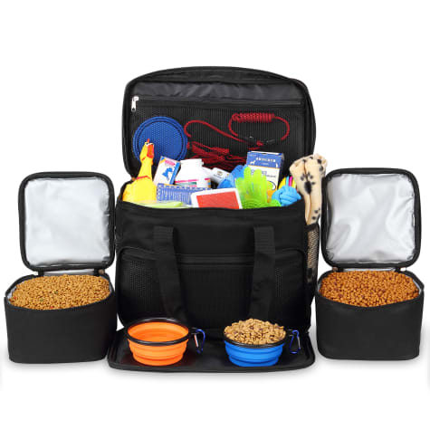 Kopeks Cat and Dog Black Travel Bag Includes 2 Food Carriers, 2 Bowls and Place mat