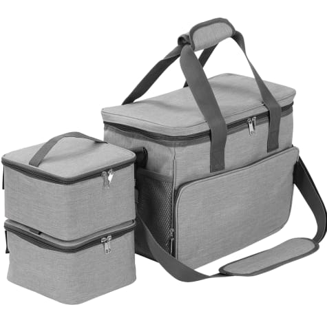 Kopeks Cat and Dog Gray Travel Bag Includes 2 Food Carriers, 2 Bowls and Place mat