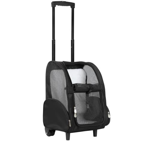 Kopeks Black Deluxe Backpack Pet Travel Carrier with Double Wheels