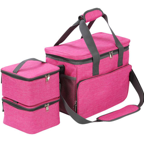 Kopeks Cat and Dog Pink Travel Bag Includes 2 Food Carriers, 2 Bowls and Place mat