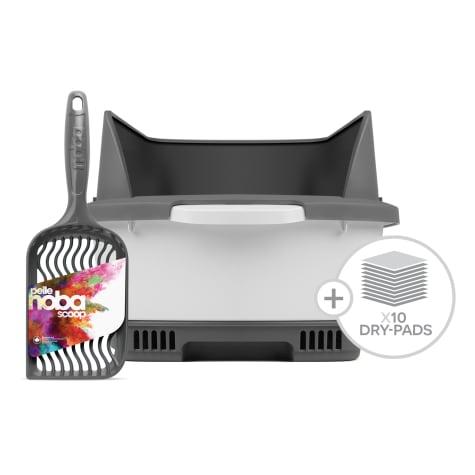 Noba Cateco Odor Elimination Starter Kit Gray Cat Litter Box