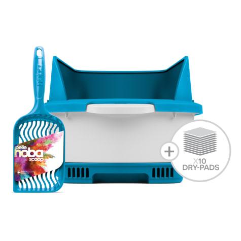 Noba Cateco Odor Elimination Starter Kit Blue Cat Litter Box