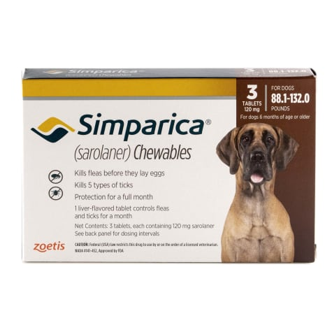Simparica Chewable for Dogs 88.1-132 lbs.