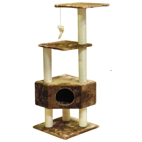 Go Pet Club Classic Brown Cat Tree Furniture with Sisal Covered Posts