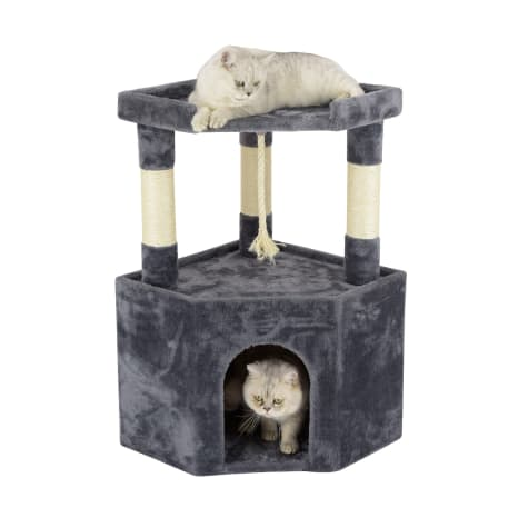 Go Pet Club Gray Cat Tree Condo with Large Perch