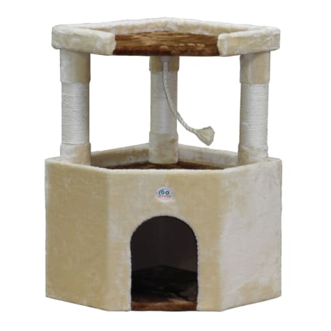 Go Pet Club Beige/Brown Cat Tree Condo with Large Perch