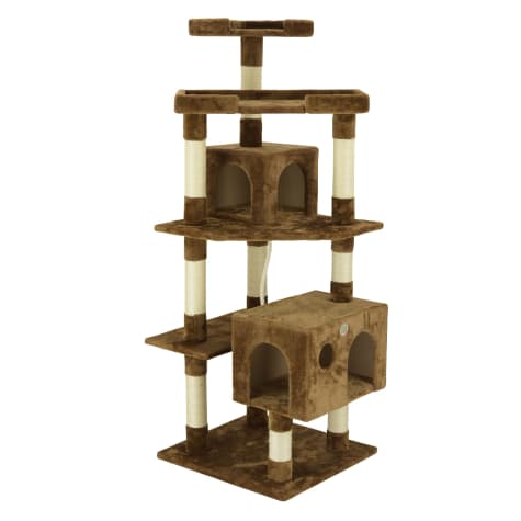 Go Pet Club Brown Cat Tree House with Sisal Scratching Posts