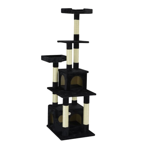 Go Pet Club Classic Black Cat Tree Condo Furniture with Sisal Scratching Posts