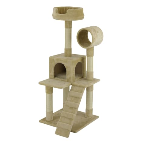 Go Pet Club Beige Cat Tree Condo with Sisal Covered Posts