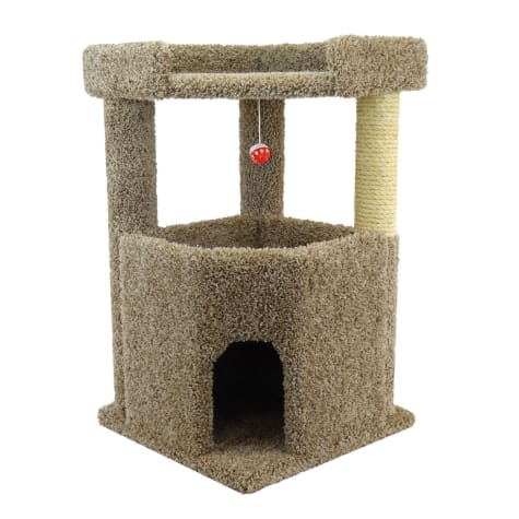 New Cat Condos 2 Level Premier Brown Corner Roost Cat Tree