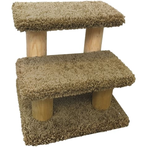 New Cat Condos 2 Level Solid Wood Brown Pet Stairs