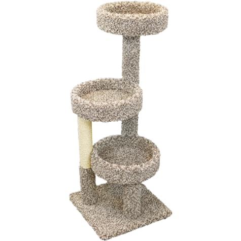 New Cat Condos 3 Tiered Carpeted Solid Wood Cat Tree Tower