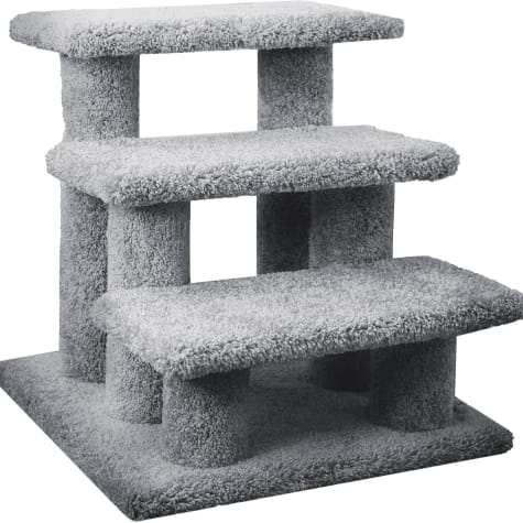 New Cat Condos 3 Level Carpeted Premier Grey Post Stairs