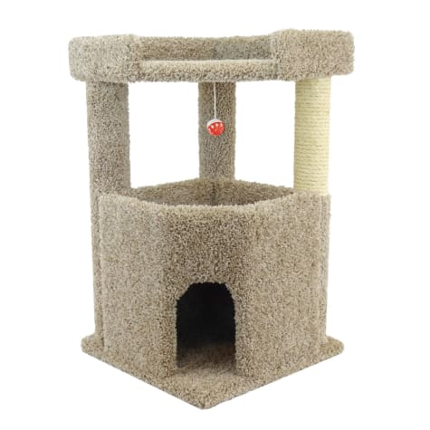New Cat Condos 2 Level Premier Tan Corner Roost Cat Tree