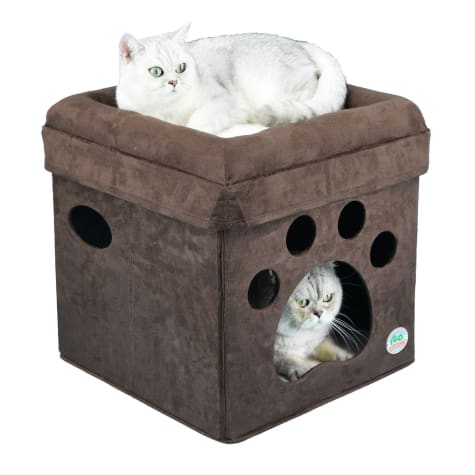 Go Pet Club Brown Paw Print Comfy Cat Cube Bed
