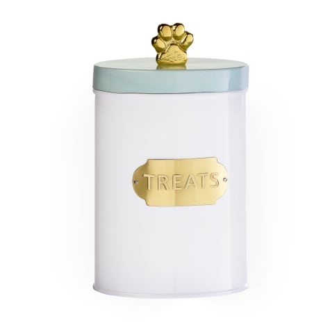 Amici Home Bentley White Mint Gold Treats Canister for Pets