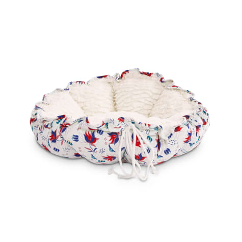 EveryYay Snooze Fest White Floral Printed Round Cat Bed