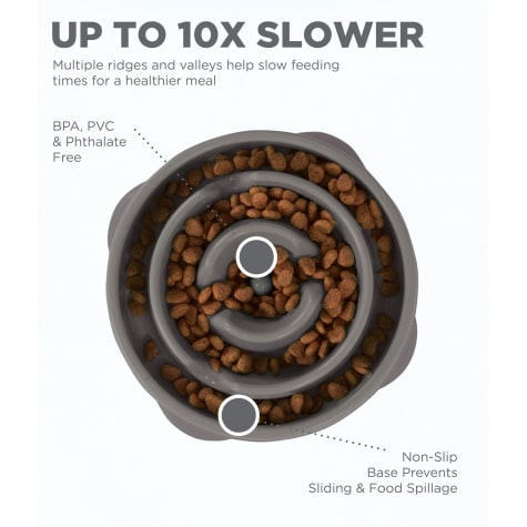 Outward Hound Fun Feeder Drop Gray Cat Bowls
