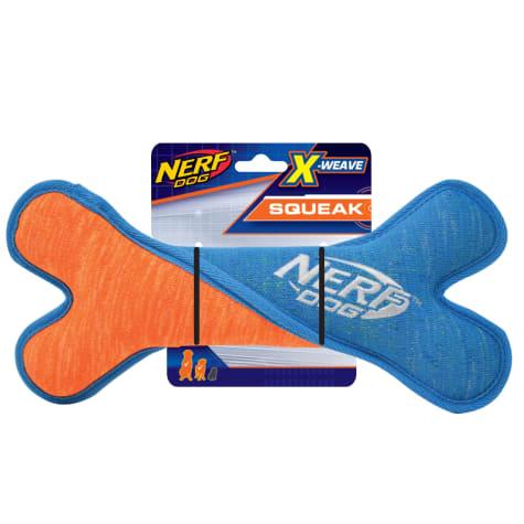Nerf Blue/Orange X-Weave Squeak Twist Bone Dog Toy