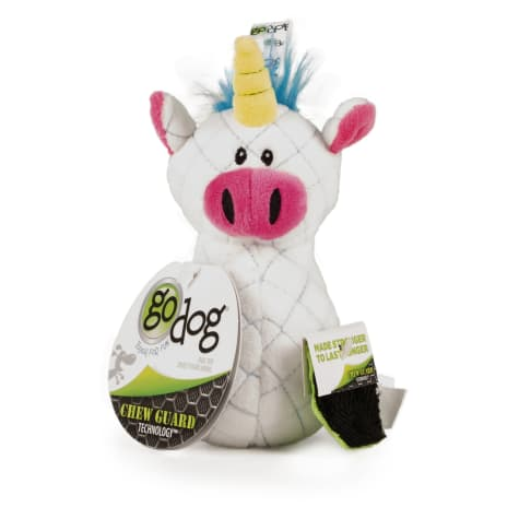 goDog Bowlers Unicorn White Dog Toy