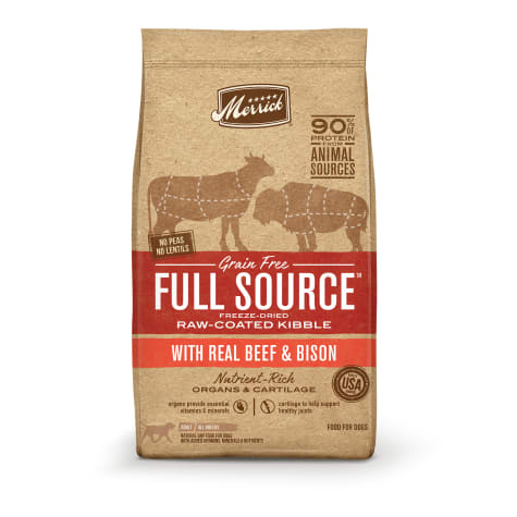 Merrick Full Source Grain Free Raw-Coated Kibble With Real Beef & Bison Recipe Dry Dog Food