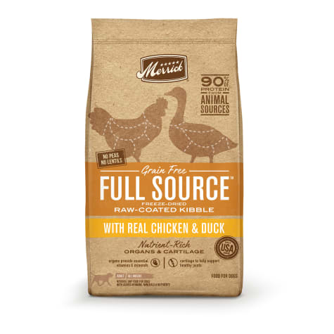 Merrick Full Source Grain Free Raw-Coated Kibble With Real Chicken & Duck Recipe Dry Dog Food