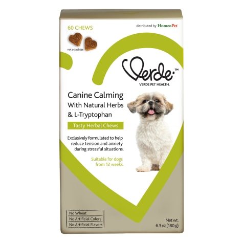 HomeoPet Verde Canine Calming with Natural Herbs & L-Tryptophan Tasty Herbal Chews for Dogs