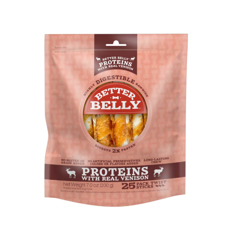 Better Belly Proteins With Real Venison Twists Digestible Dog Chew