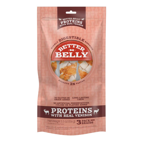 Better Belly Proteins With Real Venison Braids Digestible Dog Chew