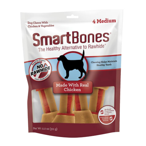 SmartBones Medium Bones Vegetable & Chicken No-Rawhide Dog Chews