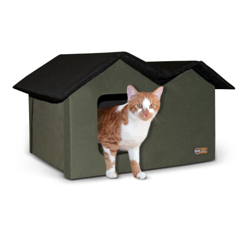 K&H Olive/Black Outdoor Extra-Wide Kitty House