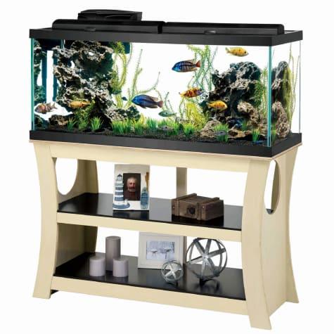 Aqueon Trends Black/Natural Wood Aquarium Stand