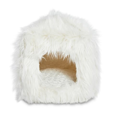 EveryYay Snooze Fest White Faux Fur Cube Cat Bed