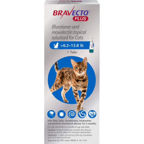 Bravecto Plus Topical Solution for Cats Greater Than 6.2-13.8 lbs., Single 2 Month Dose