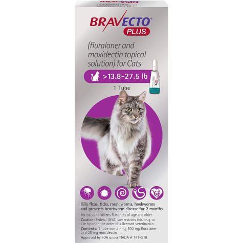 Bravecto Plus Topical Solution for Cats Greater Than 13.8-27.5 lbs., Single 2 Month Dose